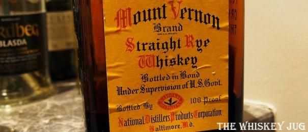 Mount Vernon Rye Whiskey Label