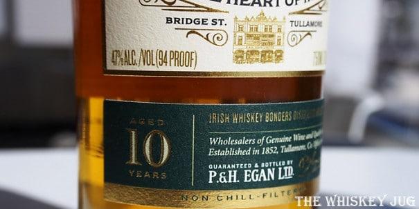Egan's 10 Year Single Malt Irish Whiskey Label