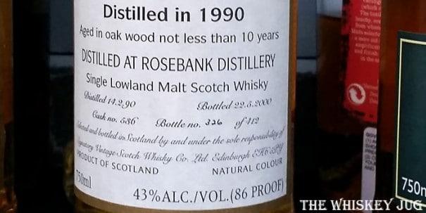 1990 Signatory Vintage Rosebank 10 years Label