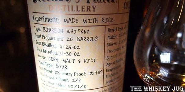 Buffalo Trace Experimental Collection Rice Label