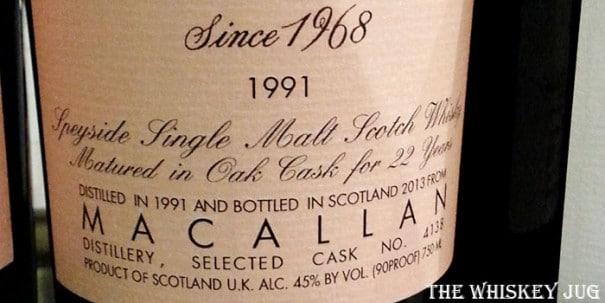 Samaroli Macallan 1991 Label
