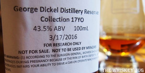 George Dickel 17 Years Label