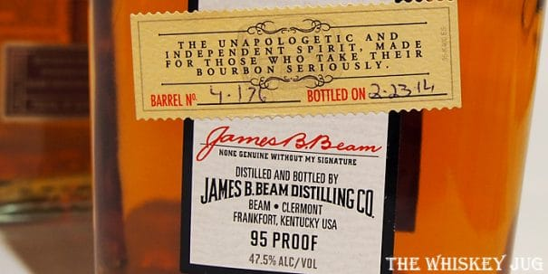 Jim Beam Single Barrel Label