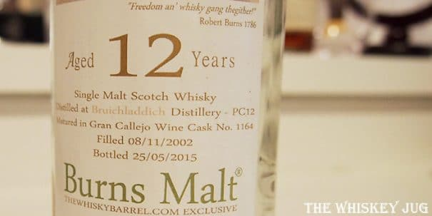 2002 Burns Malt Port Charlotte 12 years Label