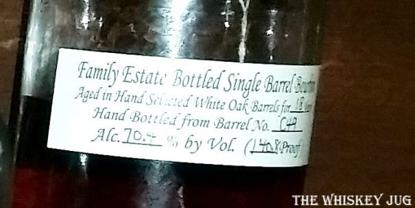 Willett Single Barrel Bourbon 18 Years Label