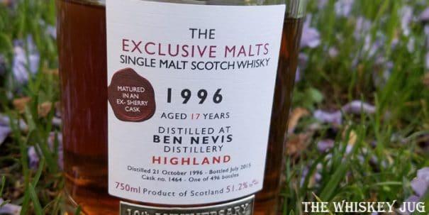 1996 Exclusive Malts Ben Nevis 18 Years Label