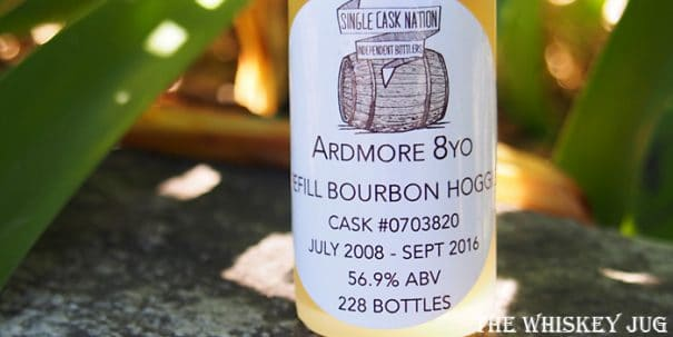 2008 Single Cask Nation Ardmore 8 Years Label