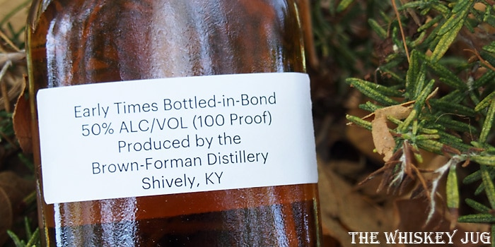 Early Times Bottled In Bond Label