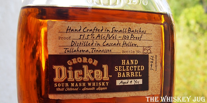 George Dickel Single Barrel 7234K1002 Label