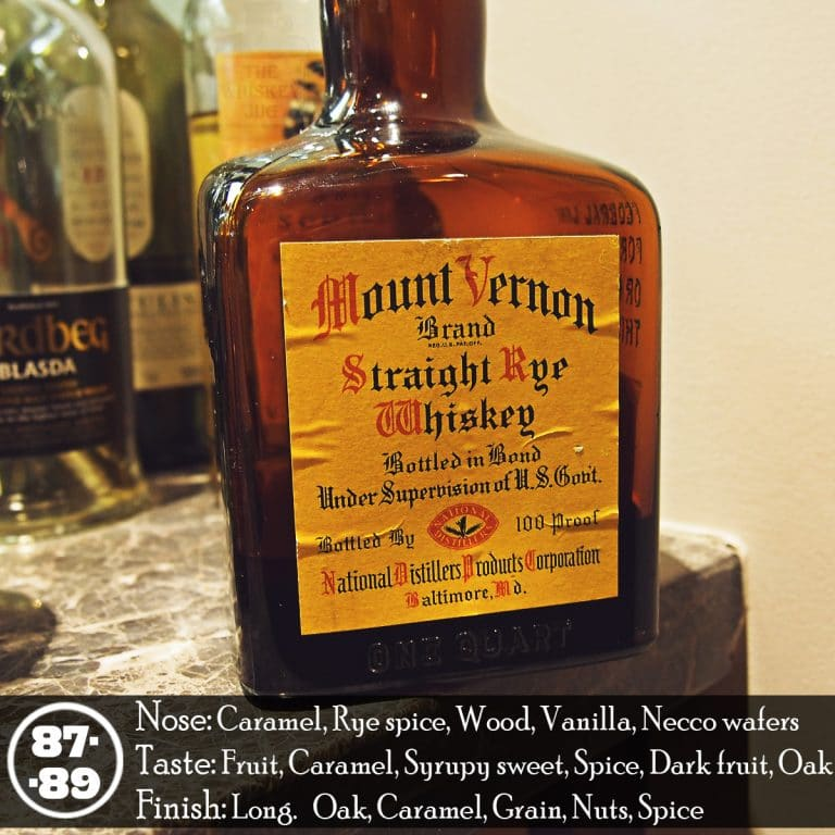 Mount Vernon Rye Whiskey Review The Whiskey Jug