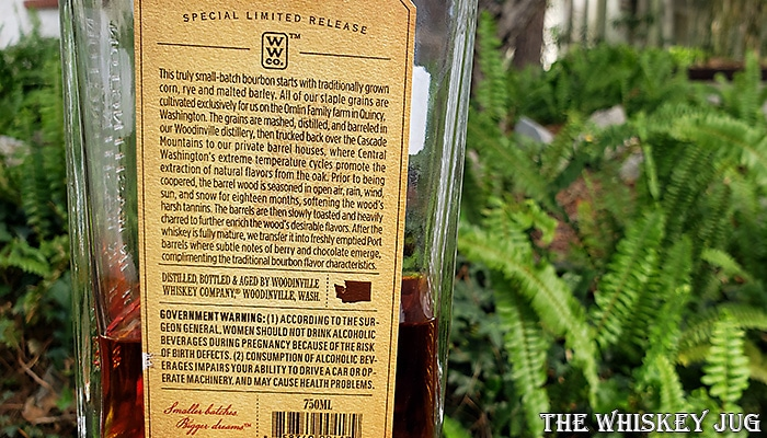 Woodinville Bourbon Finished In Port Casks Back Label
