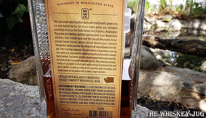 Woodinville Cask Strength Bourbon Whiskey Back Label