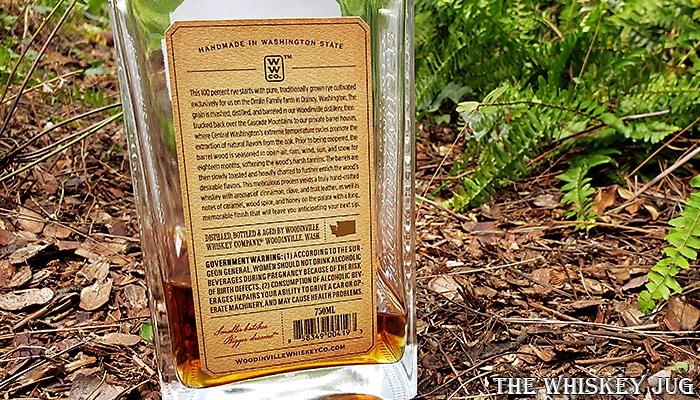 Woodinville Cask Strength Rye Whiskey Back Label