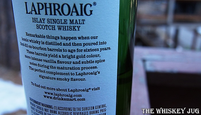 Laphroaig 16 Years Limited Edition Back Label