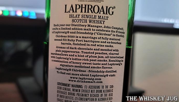 Laphroaig Cairdeas 2020 Back Label